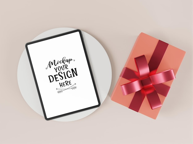 Blank screen tablet with element psd mockup