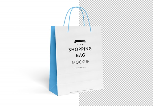 Blank shopping bag mockup cut out on white