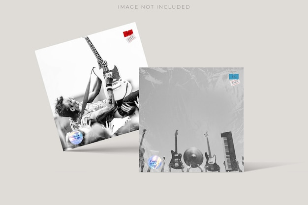 Blank square cd record cover package envelope template mock up with transparent plastic wrap texture overlay effect