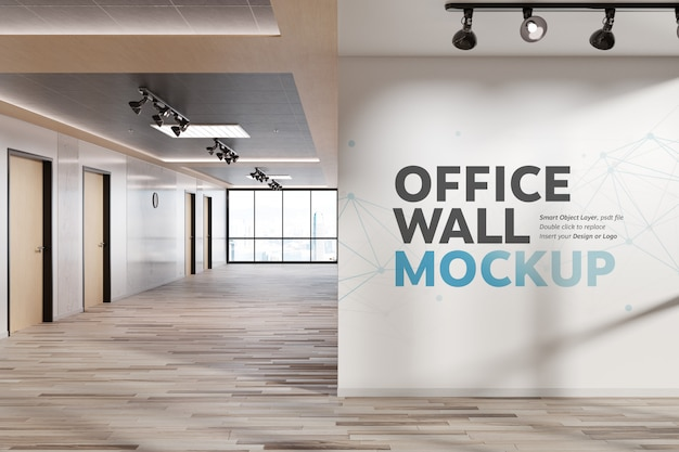 Blank squared wall in bright office mockup