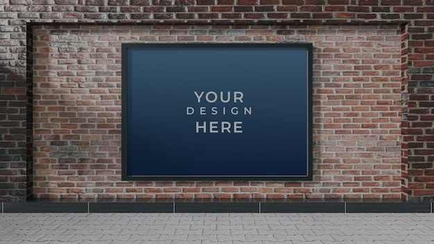 Пустой уличный рекламный щит на кирпичной стене