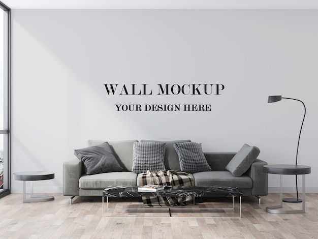 회색 현대 소파 3d 시각화 뒤에 빈 벽