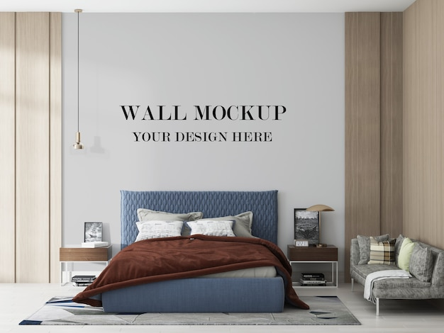 Blank wall behind blue bed in 3d rendering