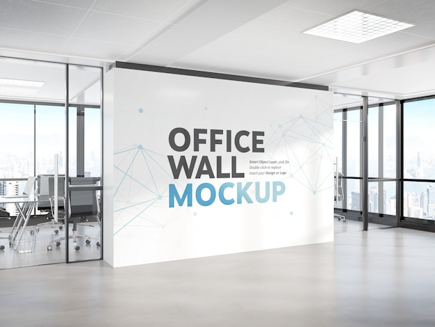 Blank wall in bright concrete office mockup