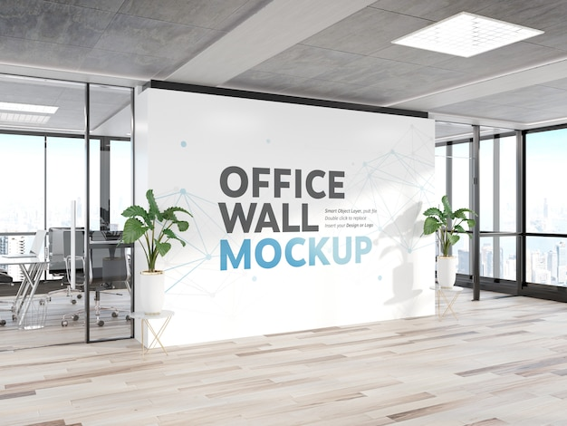 Blank wall in bright wood office mockup