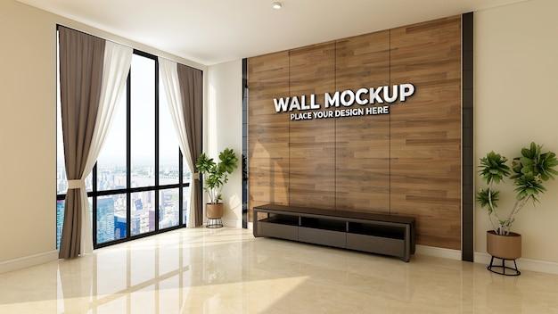Blank wall in elegant wood office mockup