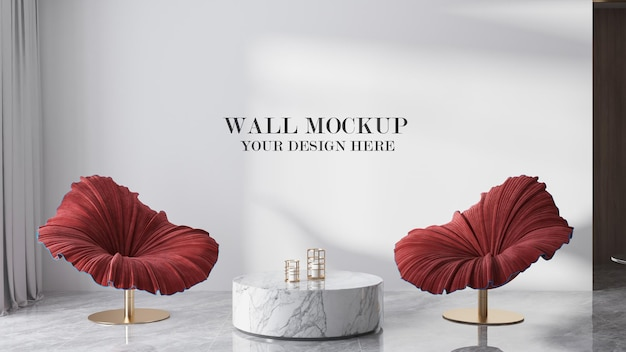 Blank wall behind flower shaped chairs