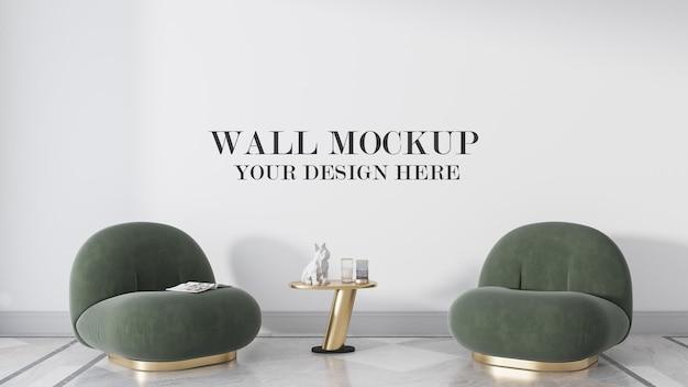 Blank wall behind green armchairs in 3d rendering