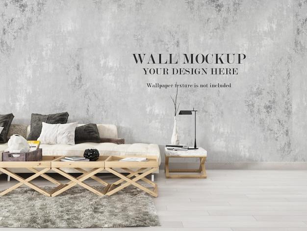 Макет пустой стены за современным синим диваном
