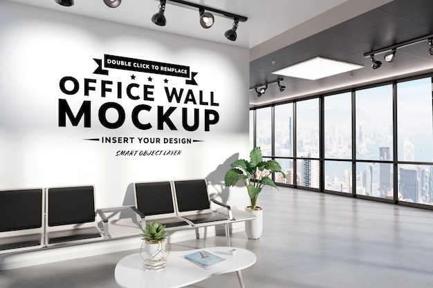 Blank wall in waiting room office mockup