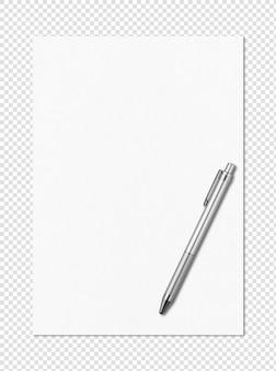 空白の白いa4用紙とペンモックアップテンプレート