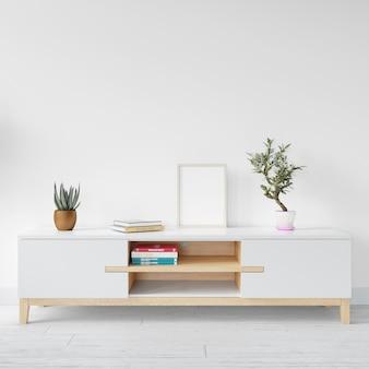 Макет пустой белой рамке на деревянный стол