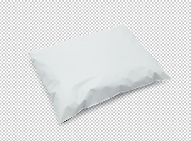 Blank white plastic bag package mockup