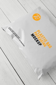 Blank white plastic bag packaging mockup template for your design