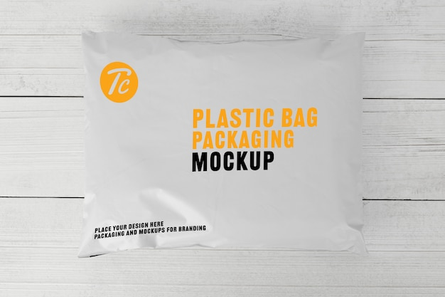 Blank white plastic bag packaging mockup