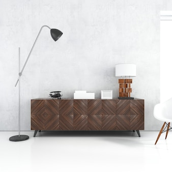 Blank white wall mockup with wooden table and lamps