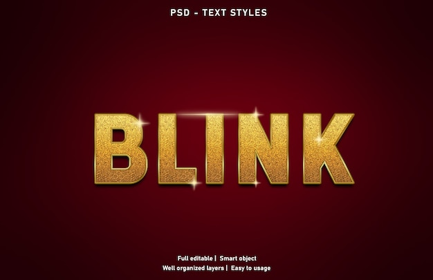 Blink text effects style template