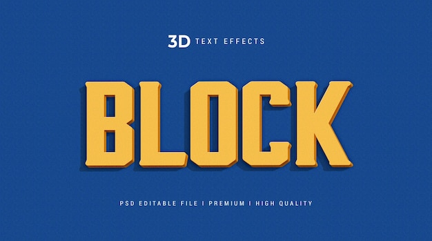 Block 3d text effect template