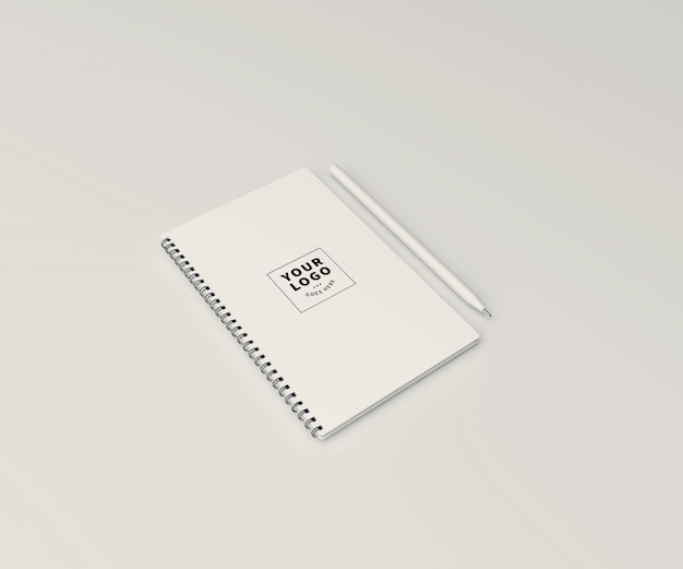 Block note mockup with pen