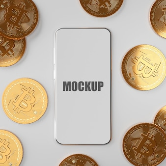 Blockchain cyptocurrency bitcoin btc with smartphone mockup