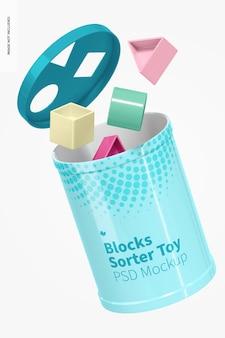 블록 분류기 장난감 목업, 플로팅