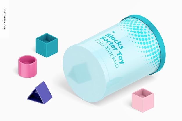 Mockup giocattolo sorter blocchi, vista isometrica destra