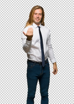 Blond businessman with long hair inviting to come with hand. happy that you came