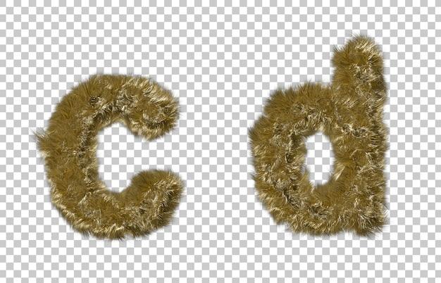 금발 모피 편지 c와 편지 d