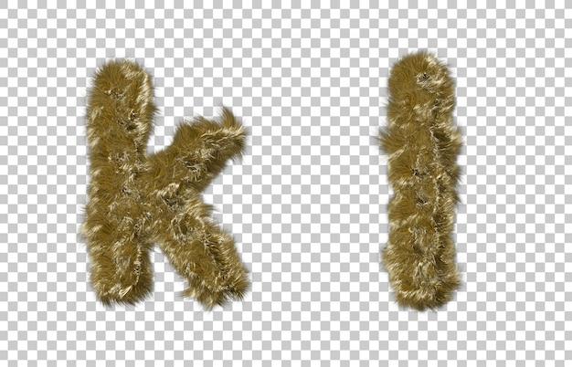 금발 모피 편지 k와 편지 l