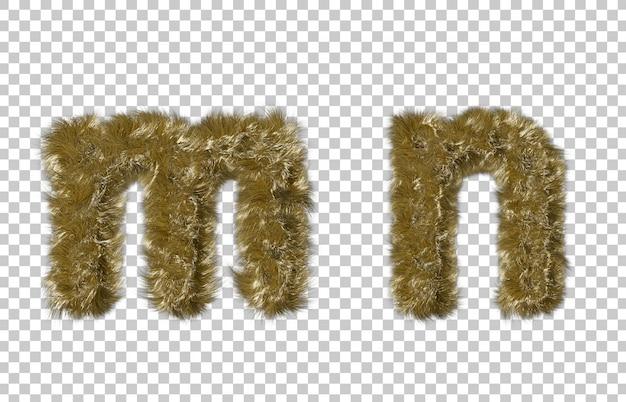 금발 모피 편지 m과 편지 n