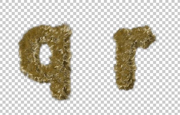 금발 모피 편지 q와 편지 r