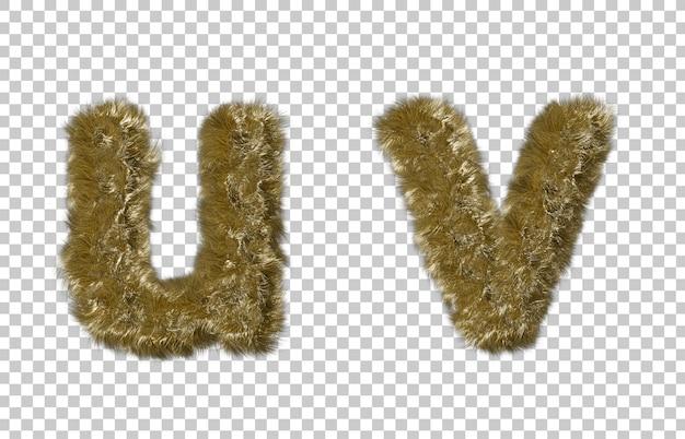 금발 모피 편지 u와 편지 v
