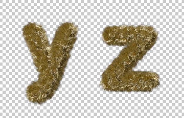 금발 모피 편지 y와 편지 z