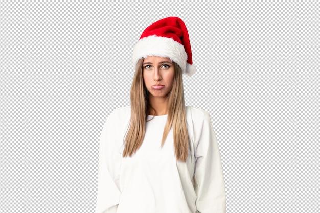 Блондинка с рождественской шляпой