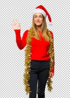 크리스마스 휴가를 차려 금발 여자