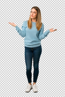 Blonde woman with blue shirt unhappy and frustrated with something because not understand something