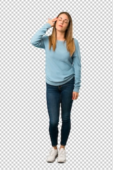 Blonde woman with blue shirt with problems making suicide gesture