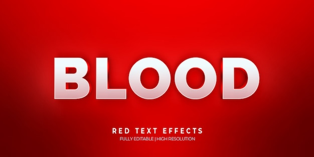 Кровь 3d эффект стиля текста красный Premium Psd