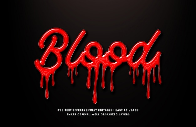 Blood 3d text style