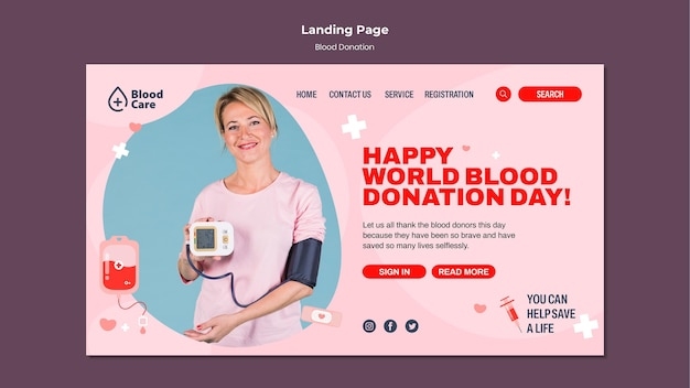 献血ホームページテンプレート 無料 Psd