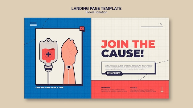 Blood donation landing page template design