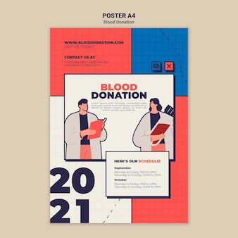 Blood donation poster template design