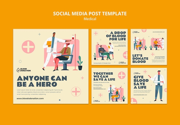 Blood donation social media post template