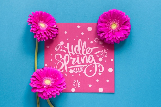 Blooming flowers and greeting card