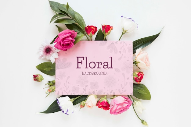 Blooming flowers with greeting card