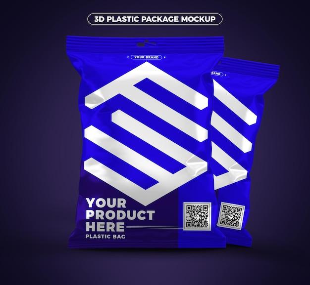 Blue 3d plastic packaging mockup design Premium Psd
