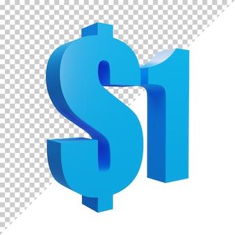 Синий 3d визуализации знак 1 доллар