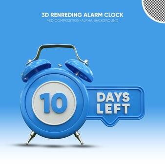 10일 남은 파란색 3d 렌더링 알람 시계