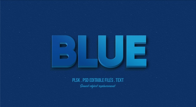 Blue 3d text style effect mockup