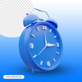 Blue alarm clock 3d icon isolated Premium Psd